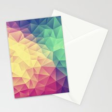 Abstract Polygon Multi Color Cubizm Painting (low poly) Stationery Cards