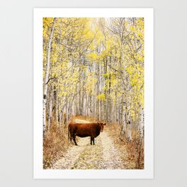 Cow in aspens Art Print