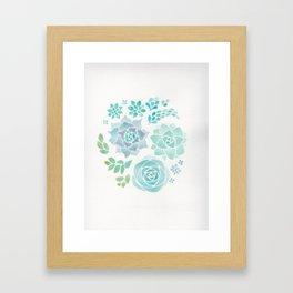 Watercolor Succulent Garden 3 Framed Art Print