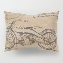 Original Motorcycle Drawing Sketch with Signatures Pillow Sham