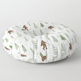trees + yeti pattern in color Floor Pillow