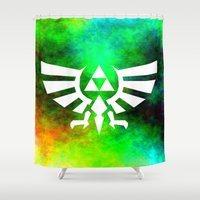 triforce Shower Curtains featuring Colourful Triforce by Rebekhaart