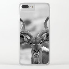 Greater Kudu B&W Clear iPhone Case