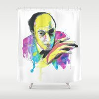 roald dahl Shower Curtains featuring Roald Dhal Watercolor by Enerimateos