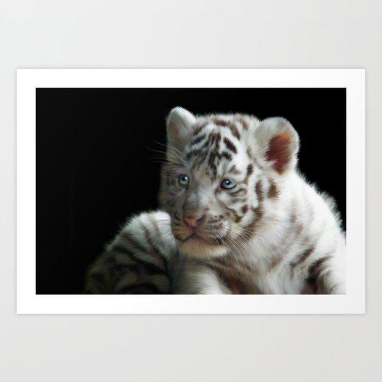 White Tiger Cub Art Print