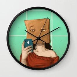 paperbag selfie Wall Clock
