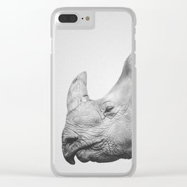 Rhino Art | Minimalism | Black and White | Animal Photography Clear iPhone Case