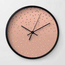Grey ombre gold glitter polka dots on salmon blush background Wall Clock