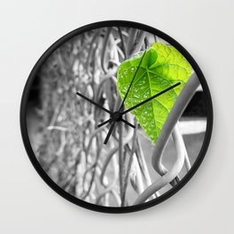 Lonely Green Leaf Wall Clock