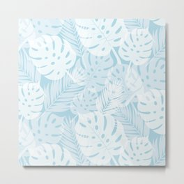 Tropical Shadows - Light Blue / White Metal Print
