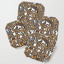 black doodle on orange Coaster