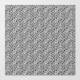 Seamless black and white rose line drawing Canvas Print