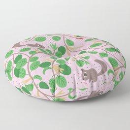 Honeysuckle and Garden Friends: Pink Floor Pillow