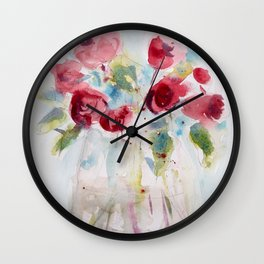 Roses (watercolor and ink) Wall Clock