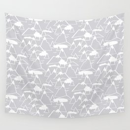 Mountain Scene in Grey Wall Tapestry