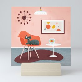 Midcentury Coral Decor With Black Cat And Gold Fish Mini Art Print