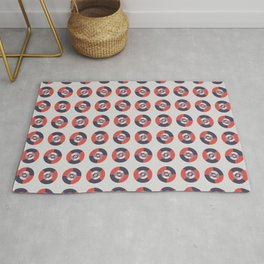 Simple geometric discs pattern red and silver Rug