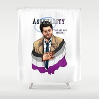fandom Shower Curtains featuring Fandom Pride : Asexuality by Cinensis