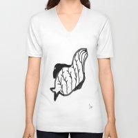 aqua V-neck T-shirts featuring Aqua by Fortale