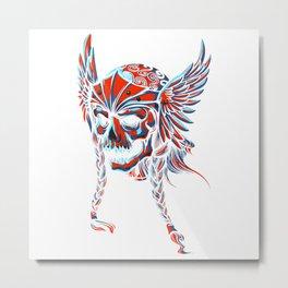 Death Flying Skull Metal Print