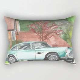 Mint Green Aston Martin DB MK3 1958 Original watercolour painting Rectangular Pillow
