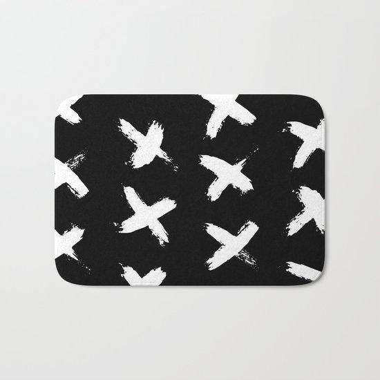 The X White on Black Bath Mat