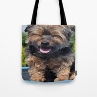 yorkie Tote Bags featuring Yorkie by Sammycrafts