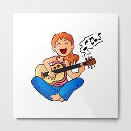 girl playing guitar cartoon Metal Print