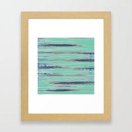 Modern African Tapestry Art Print in Aquamarine Framed Art Print