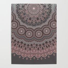 Bohemian Mandala, Rose, Pink, Gray Poster
