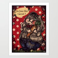rabbit Art Prints featuring Rabbit by AKIKO