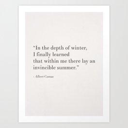 An invincible summer by Camus, white Art Print