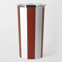 Burnt umber brown - solid color - white vertical lines pattern Travel Mug