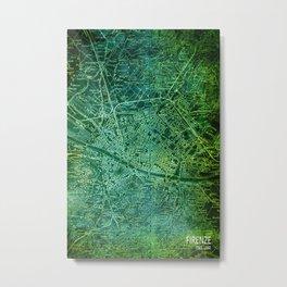 Florence 1890 green old map Metal Print
