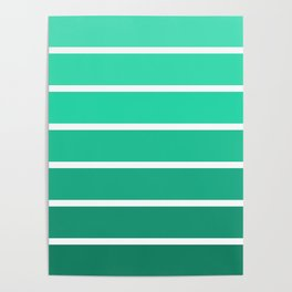 Dark green to menthol green ombre gradient Poster