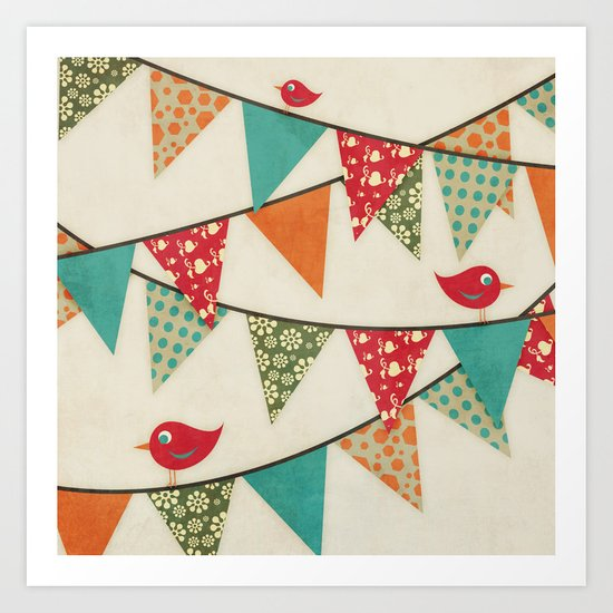Home Birds 'N' Bunting. Art Print