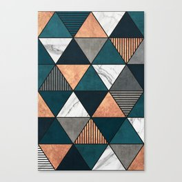 Copper, Marble and Concrete Triangles 2 with Blue Canvas Print