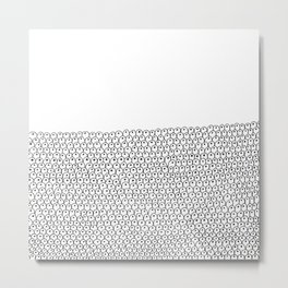 simple black and white doodle scaley pattern Metal Print