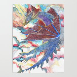 Dragon on the morning sky Poster
