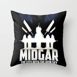 Final Fantasy VII - City with the Iron Sky Throw Pillow