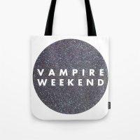 vampire weekend Tote Bags featuring Vampire Weekend glitters logo by Elianne