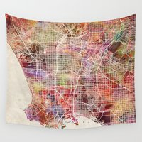 los angeles Wall Tapestries featuring Los angeles by MapMapMaps.Watercolors