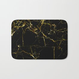 Golden Marble - Black and gold marble pattern, textured design Bath Mat