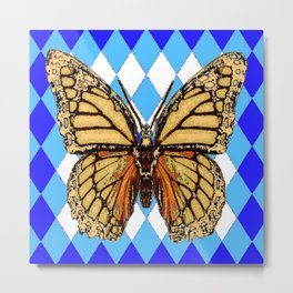 ABSTRACTED  BROWN SPICE  MONARCHS BUTTERFLY  &   BLUE-WHITE HARLEQUIN PATTERN Metal Print