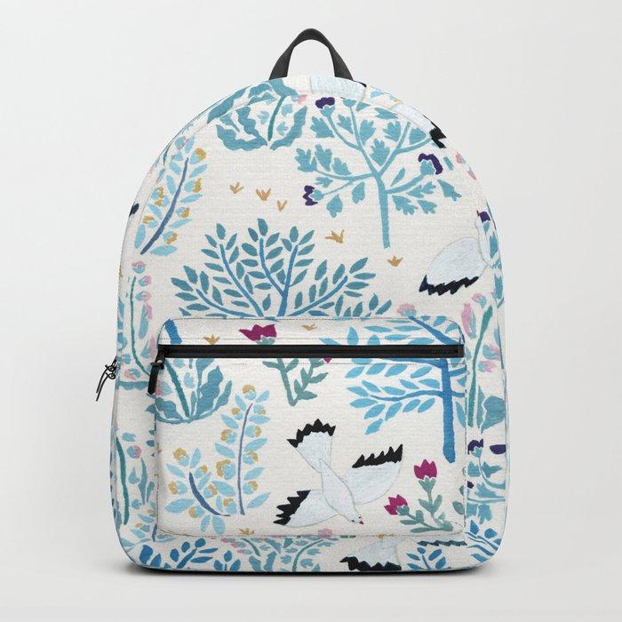 white birds garden Backpack