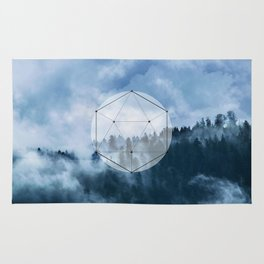 Wander into the wild blue mountains Rug