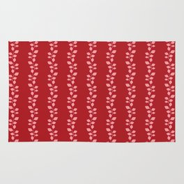 Stripes pattern, red and leaves. Rug
