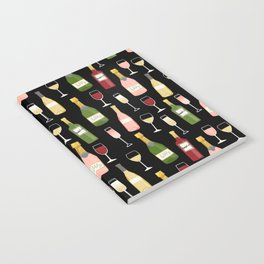 Rose drinks champagne wine bar art food fight apparel and gifts Notebook