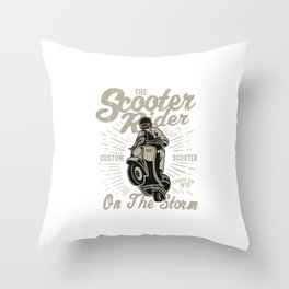 The Scooter Rider On The Storm - Vintage Scooter, Scooter Life Throw Pillow
