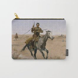 """Frederic Remington Western Art """"The Flight"""" Carry-All Pouch"""